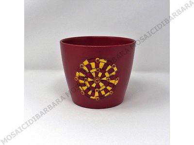 Copri Vaso in Ceramica con Decoro in Mosaico nelle tonalità del Rosso e Oro