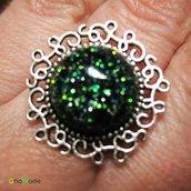 ANELLO 5SENSI 3 - con cabochon glitter nero verde oro