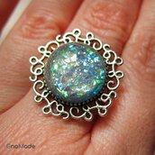 ANELLO 5SENSI 4 - con cabochon argento e flakies opalescenti verde azzurro
