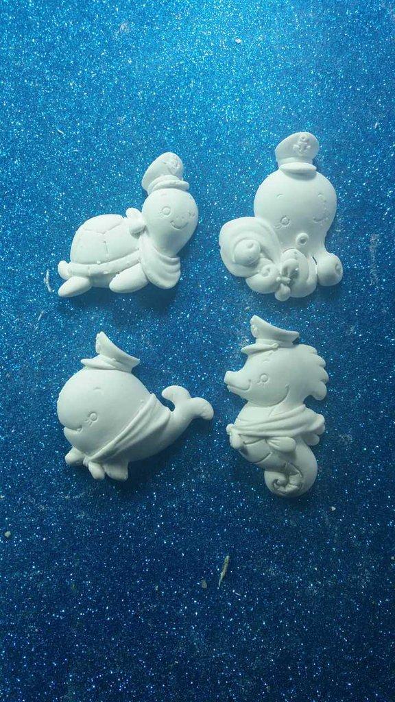 Balena, polipo, tartaruga, cavalluccio marino in 3d gesso ceramico profumato per fai da te