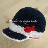Cappello/cappellino con visiera bambino -  navy - cotone bianco/blu/rosso - uncinetto - pesciolino