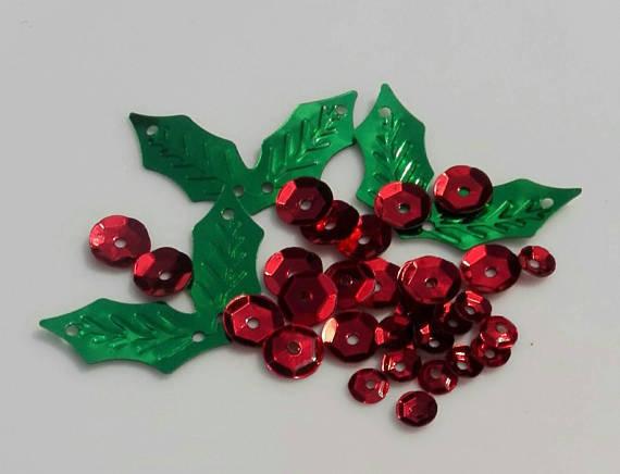 120 pcs Paillettes a Forma di Pungitopo / Agrifoglio ( 20 Foglie+100 Tonde) - Natale