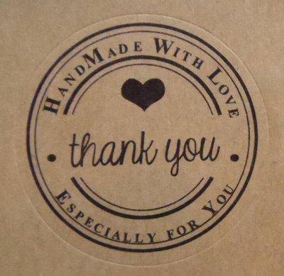 """30 Etichette adesive 35mm Tonde con scritta """"Handmade whit Love - Thank you"""" colore Marrone diametro 35mm Chiudipacco"""