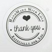 """30 Etichette adesive 30mm Tonde con scritta """"Handmade whit Love - Thank you"""" colore Bianco e Nero Lucido diametro 30mm Chiudipacco"""