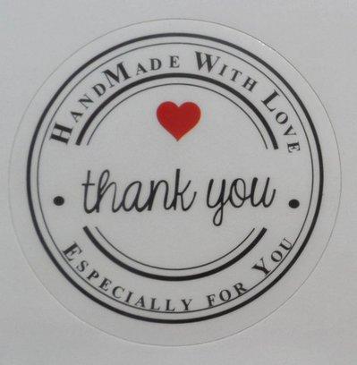 """30 Etichette adesive 35mm Tonde con scritta """"Handmade whit Love - Thank you"""" colore Bianco Lucido diametro 35mm Chiudipacco"""