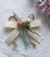 Segnaposto fiocco country chic,personalizzabile,indicato per varie cerimonie