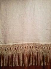 Asciugamano misto lino + macrame'