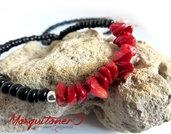 Collana in Corallo rosso da uomo donna, perle irregolari, stile mare, estate, artigianale