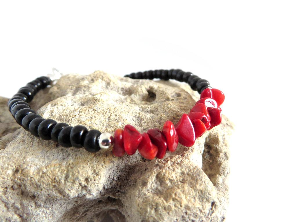 Bracciale fatto a mano artigianale in Corallo rosso da uomo donna, perle irregolari, stile mare, estate, artigianale