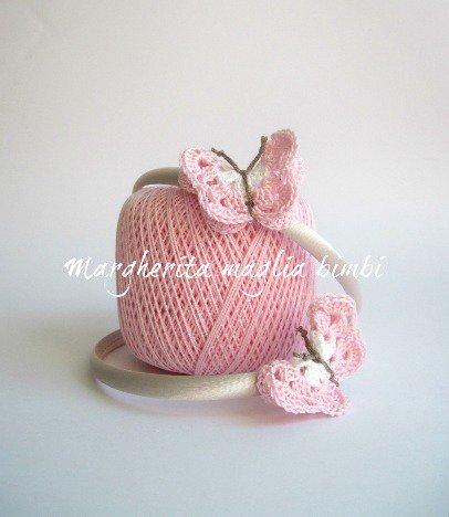 Cerchietto/cerchiello bambina in raso con farfalla rosa uncinetto - cotone - idea regalo!