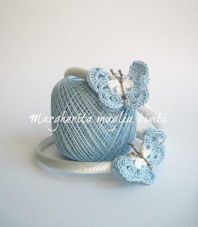 Cerchietto/cerchiello bambina in raso con farfalla azzurra uncinetto - cotone - idea regalo!