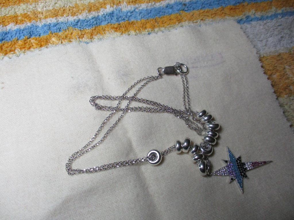 collana due fili argento 925 con pendente
