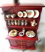 Vetrinetta in miniatura -credenza .mobile - Casa delle bambole- 1:12  barattoli caramelle e cioccolato, crepes con cioccolato panna e fragole