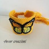 Bracciale macramè handmade con patch farfalla***Linea Flamkingo***Altezza cm 5