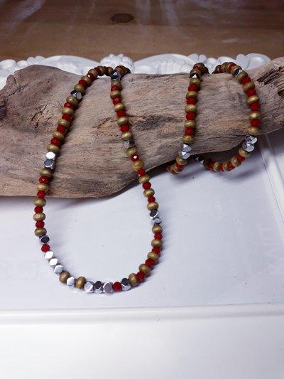 Collana in legno e Ematite bohemian style handmafe