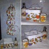 Coordinato bagno porta rotolo e cestino portaoggetti fiori