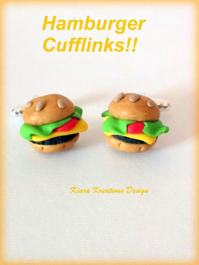 Gemelli uomo con hamburger in fimo, idea regalo per food lover, gemelli sposo, regalo matrimonio per marito, gemelli da polso