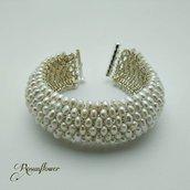 Bracciale a fascia da sposa, fatto a mano con perle di acqua dolce e perline argento, regalo per lei