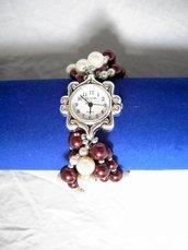 Orologio perle burdeaux e bianche