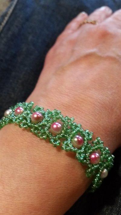 Braccialetto moduli perline verdi