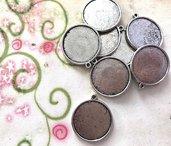 15 basi CAMMEO per immagini circolari diam. 2,5 cm argentato
