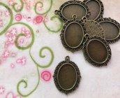16 basi CAMMEO per immagini 2,4 x 1,7 cm metallo bronzato