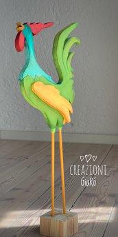 Gallo in legno dipinto
