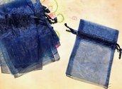 32 sacchetti sacchettini organza - blu - 8 x 7,5 cm  offerta