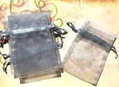 32 sacchetti sacchettini organza - grigio - 8 x 7,5 cm  offerta