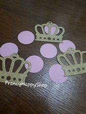 coriandoli compleanno tema principesse,compleanno rosa,bambina,coroncine,addobbi per feste di compleanno,oro,fatto a mano,personalizzato