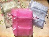38 sacchetti sacchettini organza - mix rosa avorio bianco - 8 x 7,5 cm  offerta