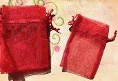 35 sacchetti sacchettini organza - rosso - 8 x 7,5 cm  offerta