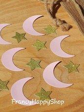 coriandoli rosa e oro,compleanno,baby shower,bambina,festa,stelle,luna,festa nascita,bomboniere,tavolo torta,decorazioni rosa e oro,party,fatto a mano
