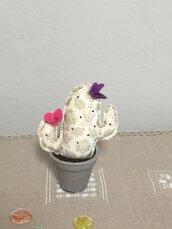 Vasetto di ceramica con cactus, vaso con pianta grassa, fiori finti