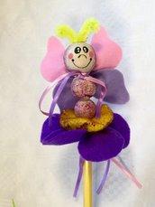Matita con farfalla pannolenci, omaggio fine festa, idea regalo bimbi