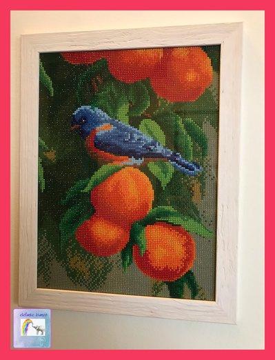 Quadro mosaico con uccello sul pesco