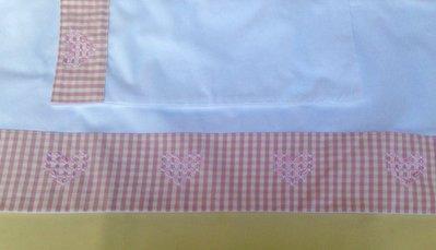 Lenzuolino per culla ricamato a mano, lenzuolo per carrozzina con quadretti rosa