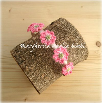 Cerchietto/cerchiello capelli bambina - raso rosa con fiori rosa fucsia cotone - uncinetto