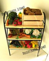 Mobile Dollhouse 1:12 - Casa delle bambole miniatura - verdure, ortaggi, dispensa: peperoni, cavolfiore, patate, broccoli, pomodori, carote, melanzane e insalata