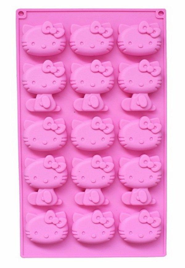 Stampo in Silicone a Gatto - Hello Kitty - Gessi - Fondente - Decorazione Torte - Cioccolato - Sapone - Resina