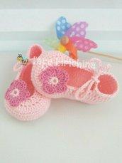 Scarpine a ballerina neonata * cotone e uncinetto * neonato portafortuna scarpe