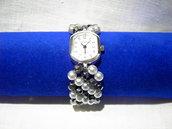 Orologio perle nere e bianche