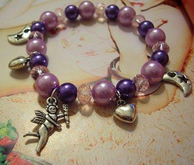 bracciale charm viola rosa