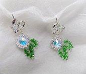 Orecchini Foglie con cristalli swarovski, orecchini perline, orecchini sposa, orecchini elfici, orecchini eleganti, orecchini leggeri