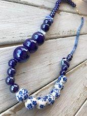 Collana blu ceramica