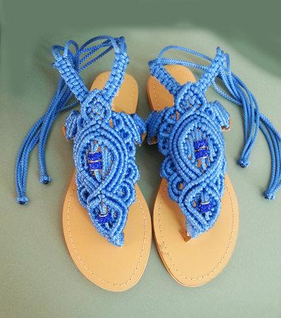 Sandali infradito macrame azzurro Passion (taglia 36)