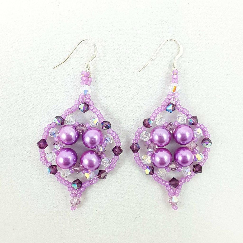 Cristalli Swarovski, orecchini argento 925, tessitura con perle lilla, pezzo unico, modello originale, idea regalo, festa della mamma, compleanno.