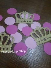 Coriandoli principessa,compleanno rosa,bambina,coroncine,addobbi per feste di compleanno,oro,fatto a mano,personalizzato