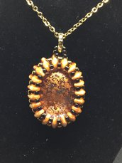Ciondolo in vetro Crystal Copper Patina Ovale liscio 25x18mm incastonato a mano