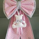 Fiocco nascita con doppia coda e orsetto_  pois rosa e grigio per bimba